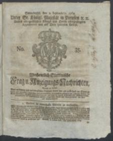 Wochentlich-Stettinische Frag- und Anzeigungs-Nachrichten. 1769 No. 35 + Anhang