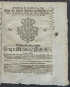 Wochentlich-Stettinische Frag- und Anzeigungs-Nachrichten. 1769 No. 38 + Anhang