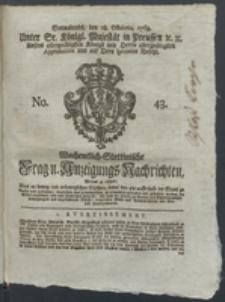 Wochentlich-Stettinische Frag- und Anzeigungs-Nachrichten. 1769 No. 43 + Anhang