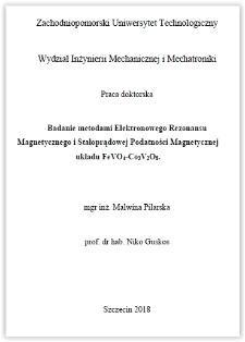 Badanie metodami elektronowego rezonansu magnetycznego i stałoprądowej podatności magnetycznej układu FeVO4-Co3V2O8