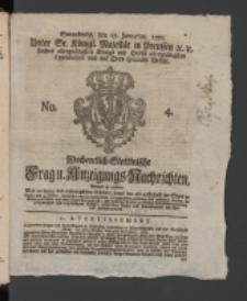 Wochentlich-Stettinische Frag- und Anzeigungs-Nachrichten. 1770 No. 4 + Anhang