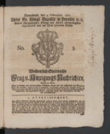 Wochentlich-Stettinische Frag- und Anzeigungs-Nachrichten. 1770 No. 5 + Anhang