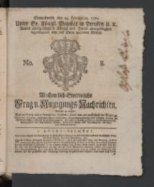 Wochentlich-Stettinische Frag- und Anzeigungs-Nachrichten. 1770 No. 8 + Anhang