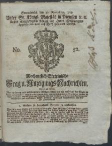 Wochentlich-Stettinische Frag- und Anzeigungs-Nachrichten. 1769 No. 52 + Anhang
