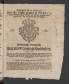 Wochentlich-Stettinische Frag- und Anzeigungs-Nachrichten. 1770 No. 26 + Anhang