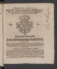 Wochentlich-Stettinische Frag- und Anzeigungs-Nachrichten. 1770 No. 31 + Anhang