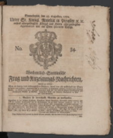 Wochentlich-Stettinische Frag- und Anzeigungs-Nachrichten. 1770 No. 34 + Anhang