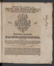 Wochentlich-Stettinische Frag- und Anzeigungs-Nachrichten. 1770 No. 36 + Anhang