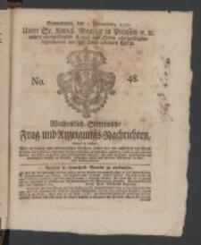 Wochentlich-Stettinische Frag- und Anzeigungs-Nachrichten. 1770 No. 48 + Anhang