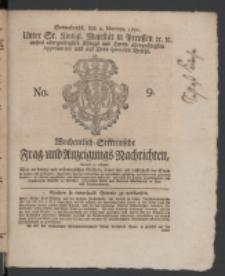Wochentlich-Stettinische Frag- und Anzeigungs-Nachrichten. 1771 No. 9 + Anhang
