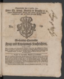 Wochentlich-Stettinische Frag- und Anzeigungs-Nachrichten. 1771 No. 14 + Anhang