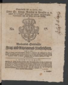 Wochentlich-Stettinische Frag- und Anzeigungs-Nachrichten. 1771 No.17 + Anhang