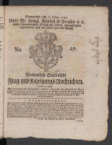 Wochentlich-Stettinische Frag- und Anzeigungs-Nachrichten. 1771 No.27 + Anhang