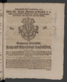 Wochentlich-Stettinische Frag- und Anzeigungs-Nachrichten. 1771 No.36 + Anhang