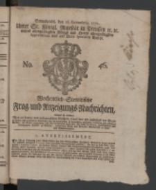 Wochentlich-Stettinische Frag- und Anzeigungs-Nachrichten. 1771 No.46 + Anhang