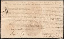 Pismo Augusta II Mocnego dotyczące prawa dożywocia do trzech wsi w województwie pomorskim dla Marii Zofii Czartoryskiej i Aleksandra Augusta Czartoryskiego