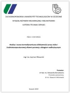 Analiza i ocena termodynamiczna efektywności pracy nisko i średniotemperaturowej siłowni parowej z obiegiem nadkrytycznym