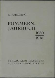 Pommern Jahrbuch. 1930-1931