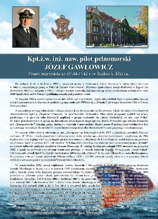 Poczet kapitanów żeglugi wielkiej - kpt. ż.w. Józef Gawłowicz