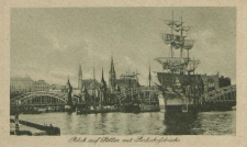 Blick auf Stettin mit Bahnhofsbrücke