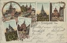 Gruss aus Stargard in Pommern, Marktplatz, Mühlenthor, Johannis Kirche, Pyritzerthor, Marienkirche, Wallthor