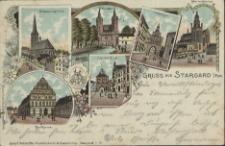 Gruss aus Stargard in Pommern, Johanniskirche, Mühlenthor, Wallthor, Marienkirche, Rathaus, Pyritzer Thor
