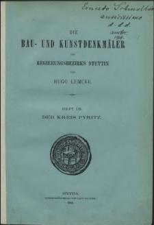 Die Bau- und Kunstdenkmäler der Provinz Pommern. T.2,Bd. 2,H. 7, Der Kreis Pyritz