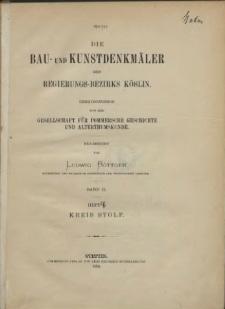 Die Bau- und Kunstdenkmäler der Provinz Pommern.T,3, Bd. 2, H. 4, Kreis Stolp