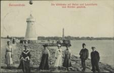 Swinemünde, Die Winkbake mit Hafen und Leuchtturm von Norden gesehen
