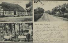 Gruß aus Kublank, Gasthof Paul Roloff, Gartenansicht, Dorfstraße an der Chaussee