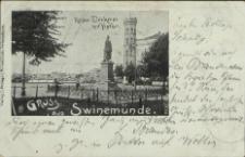 Gruss aus Swinemünde, Kaiser-Denkmal mit Hafen