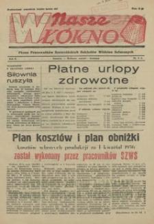 Nasze Włókno : pismo pracowników Szczecińskich Zakładów Włókien Sztucznych. R.2, 1956 nr 3-4
