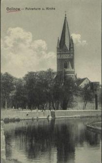 Gollnow, Pulverturm und Kirche