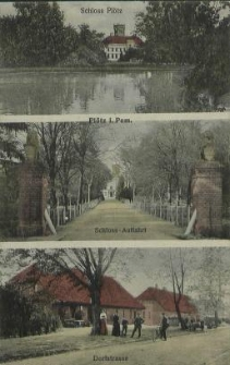 Plötz in Pommern, Schloss Plötz, Schloss Auffahrt, Dorfstrasse