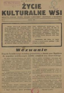 Życie Kulturalne Wsi : biuletyn Zarządu Wojew. Związku Samopomocy Chłopskiej w Szczecinie. R.1, 1953 nr 1