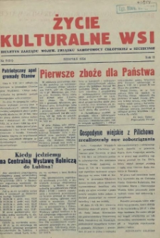 Życie Kulturalne Wsi : biuletyn Zarządu Wojew. Związku Samopomocy Chłopskiej w Szczecinie. R.2, 1954 nr 8