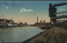 Stettin, Freihafen mit Verwaltungsgebäude