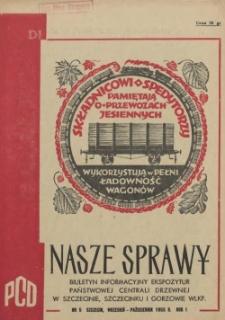 Nasze Sprawy : biuletyn informacyjny Ekspozytury Państwowej Centrali Drzewnej w Szczecinie. R.1, 1955 nr 5
