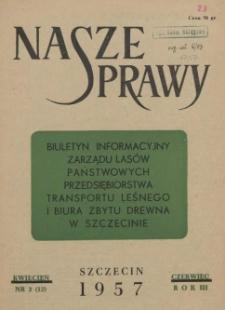 Nasze Sprawy : biuletyn informacyjny Ekspozytury Państwowej Centrali Drzewnej w Szczecinie. R.3, 1957 nr 2