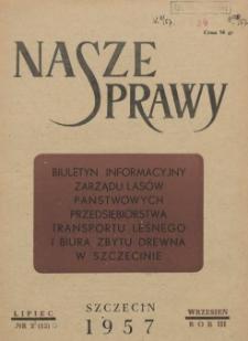 Nasze Sprawy : biuletyn informacyjny Ekspozytury Państwowej Centrali Drzewnej w Szczecinie. R.3, 1957 nr 3