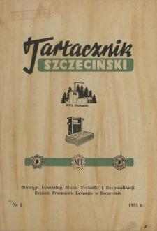 Tartacznik Szczeciński : biuletyn kwartalny Klubu Techniki i Racjonalizacji Rejonu Przemysłu Leśnego w Szczecinie. 1955 nr 2