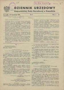 Dziennik Urzędowy Wojewódzkiej Rady Narodowej w Koszalinie. 1951 nr 1