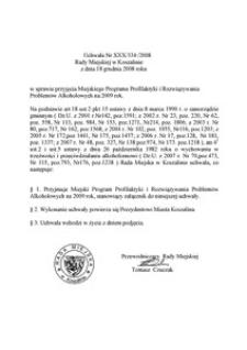 Uchwała Rady Miejskiej w Koszalinie nr XXX/334/2008
