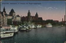 Stettin, Hafenpartie mit Museum und Regierungsgebäude