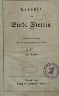 Chronik der Stadt Stettin : bearbeitet nach Urkunden und den bewährten historischen Nachrichten
