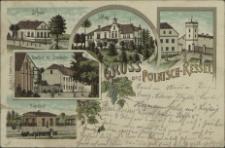 Gruss aus Polnisch-Kessel, Schule, Schloss, Gasthof zur Eisenbahn, Bahnhof
