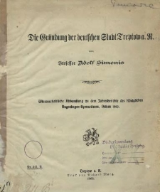 Die Gründung der deutschen Stadt Treptow a. R.