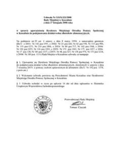 Uchwała Rady Miejskiej w Koszalinie nr XXIX/323/2008