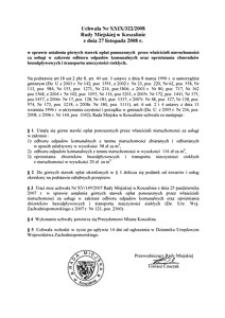 Uchwała Rady Miejskiej w Koszalinie nr XXIX/322/2008