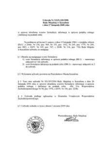 Uchwała Rady Miejskiej w Koszalinie nr XXIX/320/2008